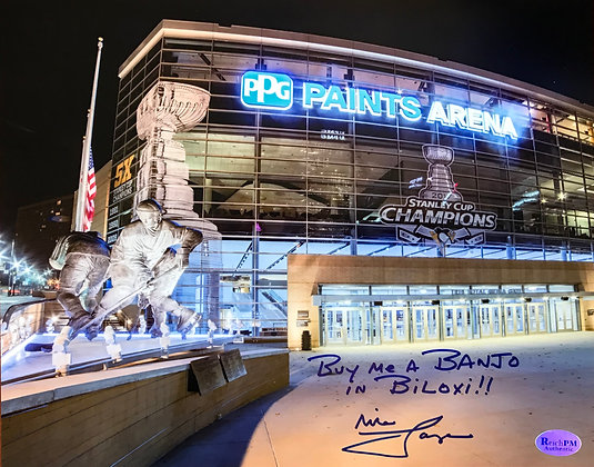 Mike Lange Autographed, Inscribed  8x10 Photo-PPG Arena-Buy Me A Banjo in Biloxi