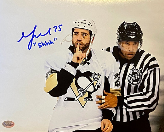 "Max Talbot Autographed 8x10 Photo , Inscribed ""Shhh..."""