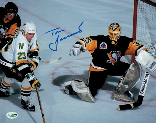 Tom Barrasso Autographed 8x10 Photo -1991 Cup Away