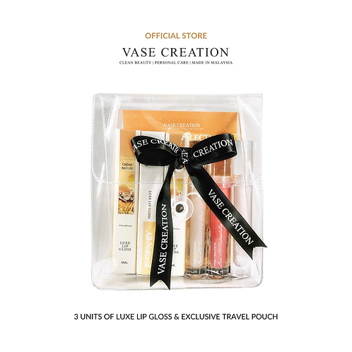 Vase Creation Luxe All-Natural Lip Gloss (Trio Set: 3's)