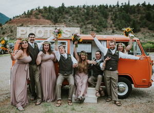 Outdoor Colorado River Wedding | Unique Paddle Recessional & VW Bus Photo Booth