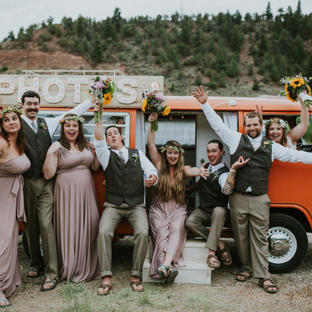 Outdoor Colorado River Wedding   Unique Paddle Recessional & VW Bus Photo Booth