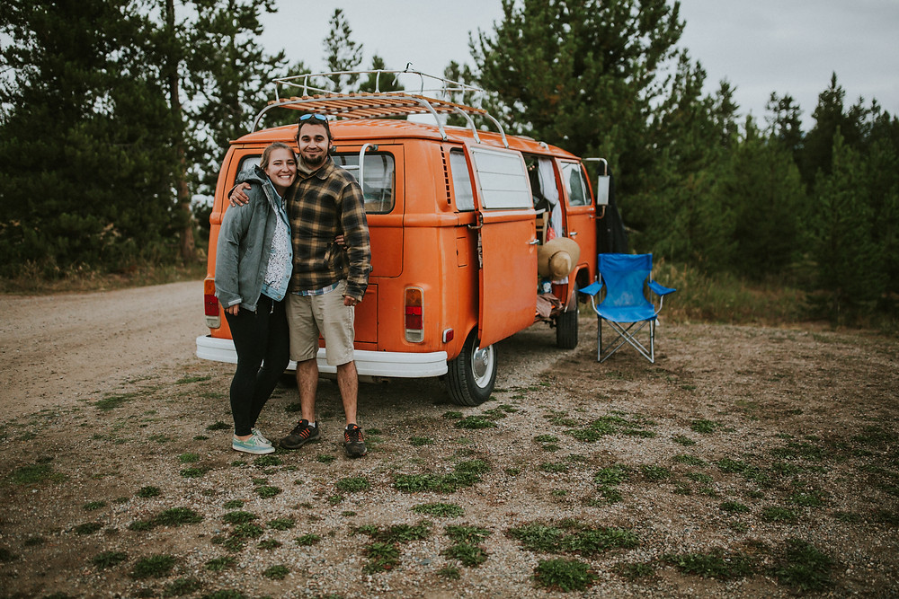 VW bus camping in Colorado