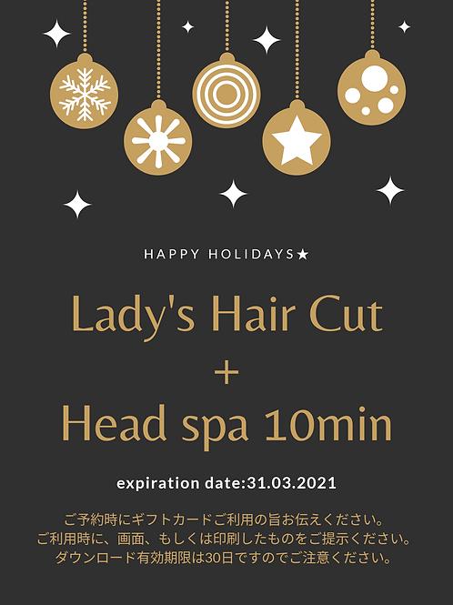 Lady's Hair Cut + Headspa 10min