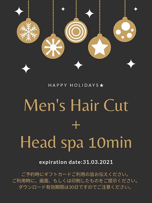Men's Hair Cut + Headspa 10min
