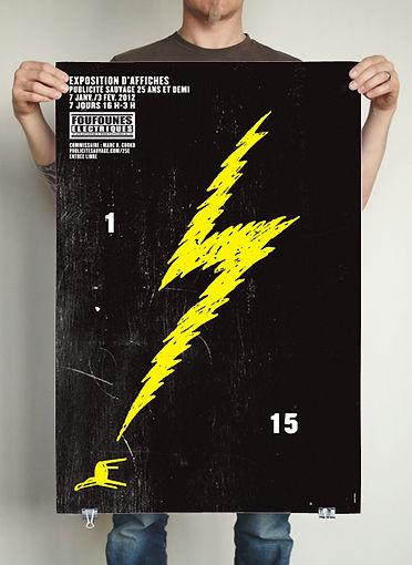 Affiche Les Foufounes électriques. Publicité Sauvage fête ses 25 an  et demi d'affichage culturel à travers 15 lieux. 1/15. Design et illustration : Laurent Pinabel