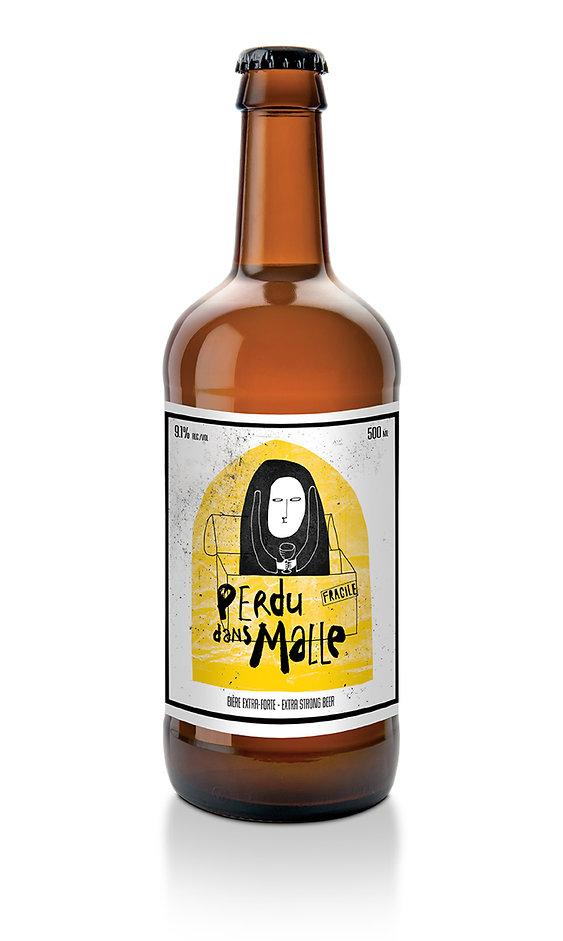 Étiquette de bière. Label beer. Microbrasserie Avant-Garde. Bière extra forte. Perdu dans Malle. Expression québécoise. Illustration : Laurent Pinabel