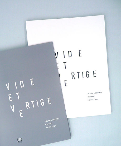 Catalogue et design d'expo. Vide et vertige. Espace : 1700 La Poste. Artistes : Jocelyne Alloucherie, Ivan Binet, Mathieu Cardin. Design : Laurent Pinabel