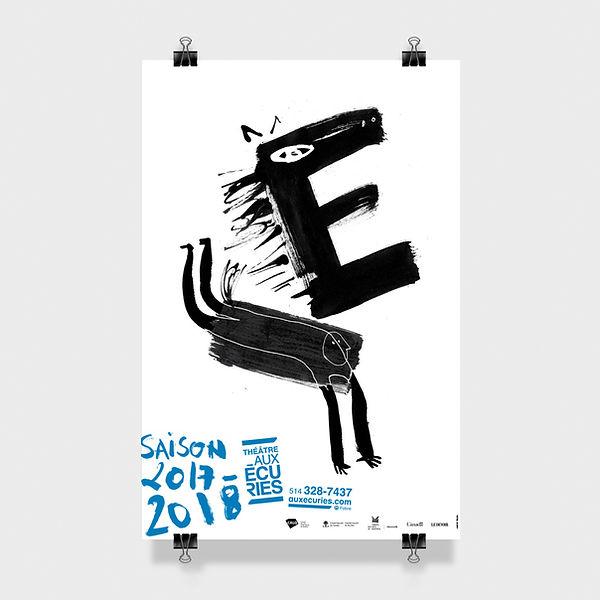 Affiche de saison, Théâtre Au Écuries, Montréal, Design et illustration Laurent Pinabel