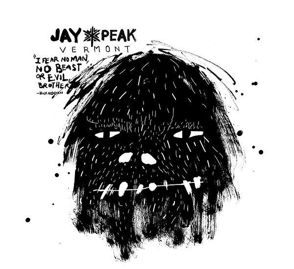 Cover Jay Peak Winter magazine, Vermont, Rider, ski, Mountain, No Fear, Design and illustration Laurent Pinabel, in collaboratin with Origin Design