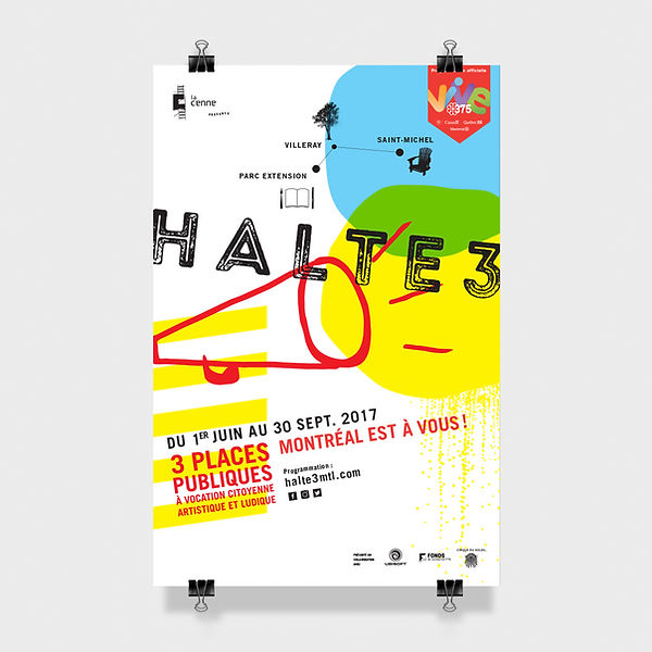 Affiche et logo de l'événement Halte 3, programmation officielle du 375e anniversaire de Montréal etd 150e du Canada. Direction artistique et design Laurent Pinabel