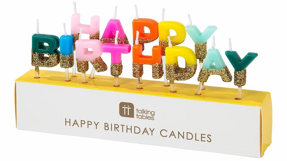 Rainbow Brights Happy Birthday Candles