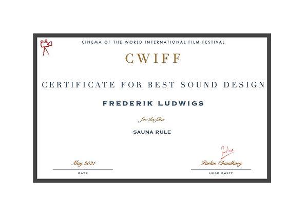 15. Best Sound design - Frederik Ludwigs