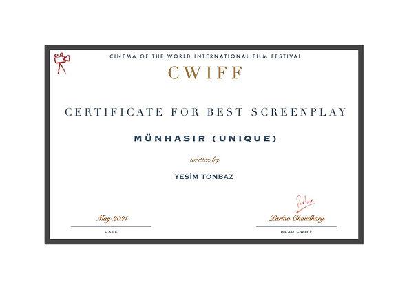 12. Best Screenplay - Münhasır (Unique).