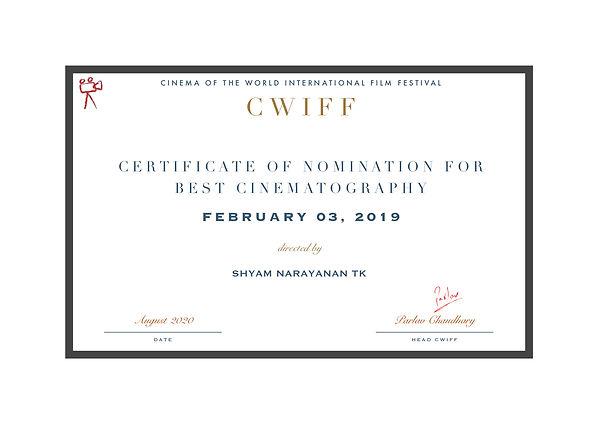 1.9 Nominee - Best Cinematography - Febr