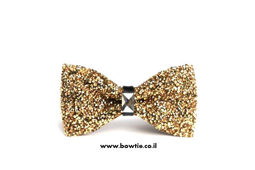 עניבת פפיון יהלום קריסטל זהב