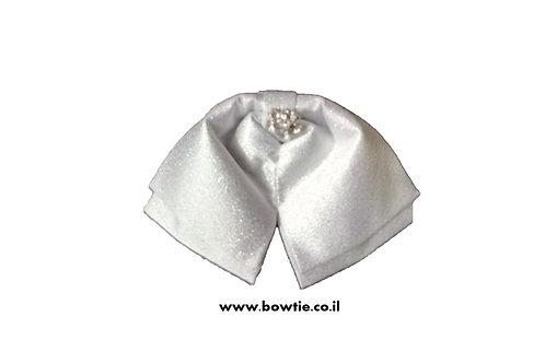עניבת פפיון ווסטרן לבנה מבריקה יהלום
