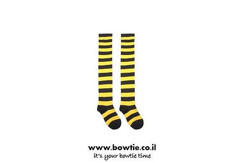 גרביים ברך פסים שחור צהוב