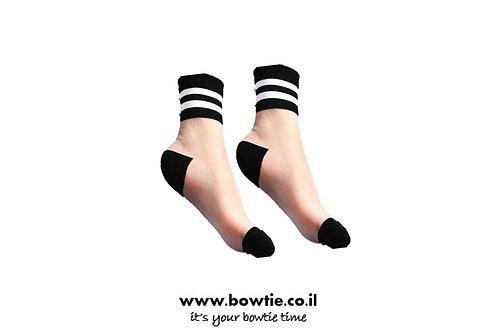 גרביים שקופים שחור לבן