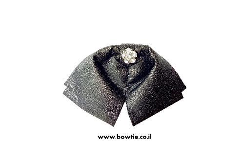 עניבת פפיון ווסטרן שחורה מבריקה יהלום