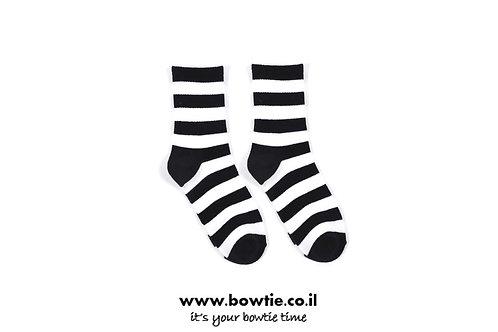 גרביים פסים שחור לבן