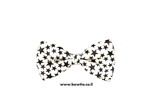 עניבת פפיון לבנה כוכבים שחורים