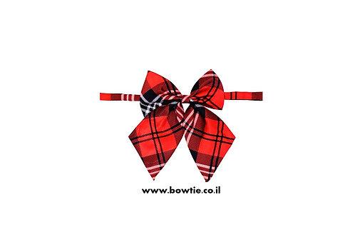 עניבת פפיון פרפר אדום שחור סקוטי
