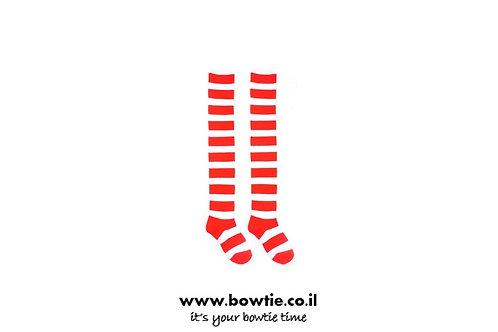 גרביים ברך פסים אדום לבן