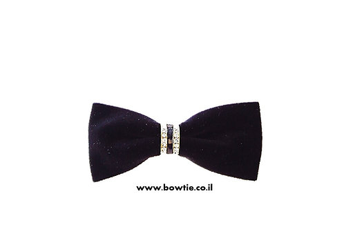 עניבת פפיון קטיפה שחורה חבק זהב יהלומים