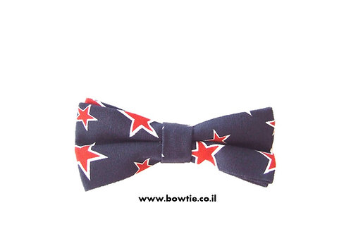 עניבת פפיון כחולה כוכבים אדומים
