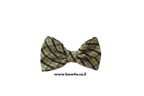 עניבת פפיון שחור צהוב פסים