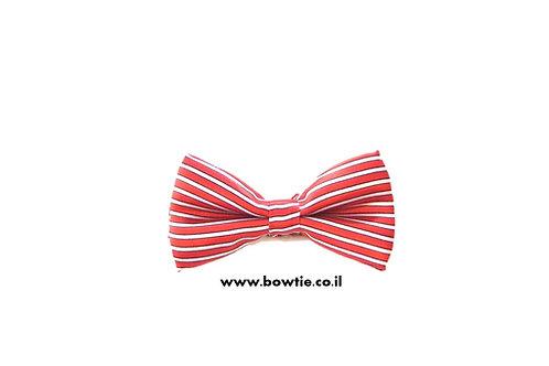 עניבת פפיון אדומה פסים לבנים