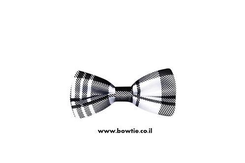 עניבת פפיון סקוטית שחור לבן