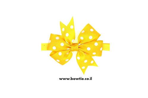 עניבת פפיון צהובה נקודות לבנות
