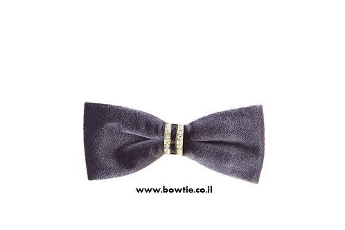 עניבת פפיון קטיפה אפורה חבק זהב יהלומים