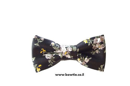 עניבת פפיוןדמוי עור שחורה פרחים