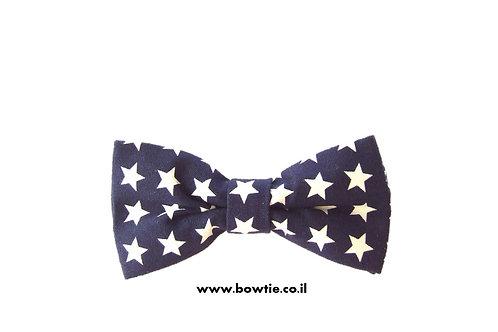 עניבת פפיון כחולה כוכבים לבנים