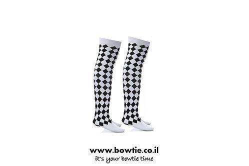 גרביים ברך שחור לבן