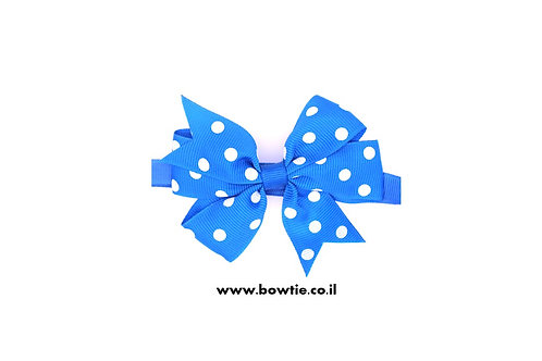 עניבת פפיון כחולה נקודות לבנות