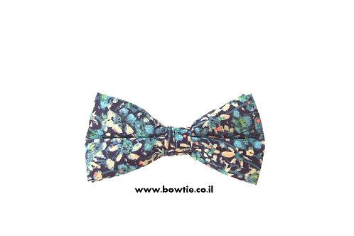 עניבת פפיון כחולה פרחונית