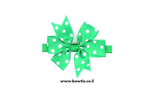 עניבת פפיון ירוקה נקודות לבנות