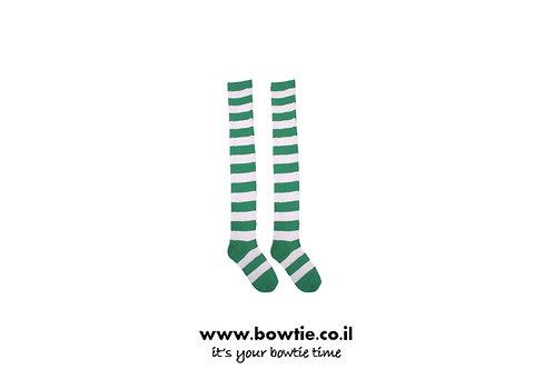 גרביים ברך פסים ירוק לבן