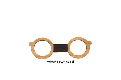 עניבת פפיון עץ משקפיים עגולים