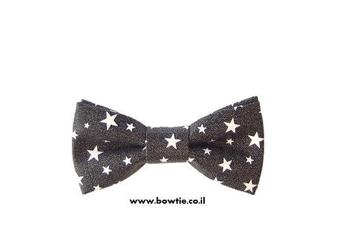 עניבת פפיון דמוי עור שחורה כוכבים