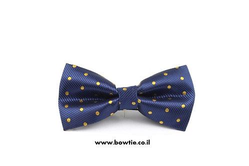 עניבת פפיון כחולה נקודות זהב
