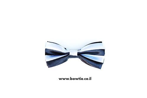 עניבת פפיון לבנה פסים שחורים