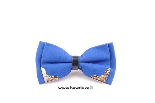 עניבת פפיון כחולה עיטורי זהב