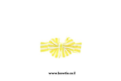 סרט פפיון לראש לבן פסים צהובים