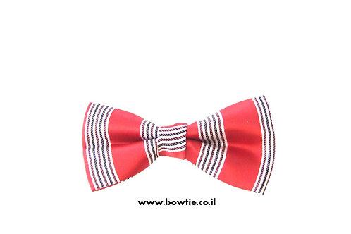 עניבת פפיון אדומה פסים