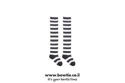 גרביים ברך פסים שחור לבן